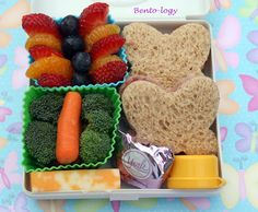 2 butterfly-shaped sandwiches, Strawberries, mandarin oranges and blueberry butterfly, Broccoli and carrot butterfly with ranch,& Cheese stick (halved and stacked)  York peppermint