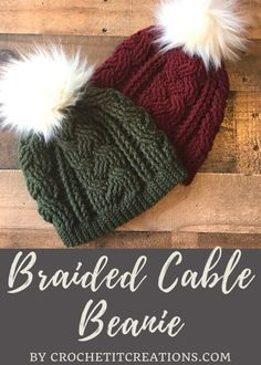 Braided Cable Beanie - Crochet it Creations