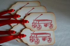 Little Red Wagon Gift/Wish Tree Tags by IndelibleImpressions