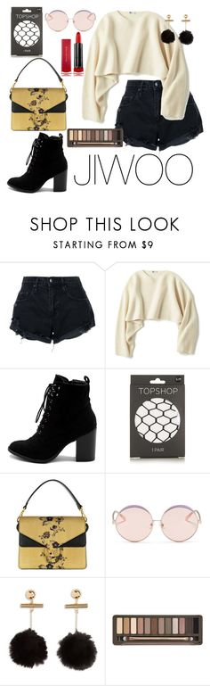 """""""JIWOO'S STYLE"""" by repinaslifestyle ❤ liked on Polyvore featuring Nobody Denim, Uniqlo, Ollio, Topshop, Coccinelle, N°21, Urban Decay and Max Factor"""