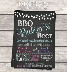 BBQ Babies and Beer joint co-ed boy and girl bbq Baby shower invitation by DigiBabyDesign #bbqbabyshower #jointbabyshower #babyshowerinvitaitons