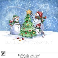 Christmas - Winter Theme - Snow Family II Graphics, of snowmen, snow family, snowmen decorating the tree. Christmas Snowmen. Gina Jane Designs - DAISIE Company