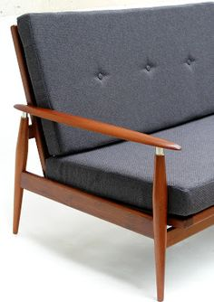 vamp furniture - two seater mahogany couch re-upholstered in hertex, granite twine. New Furniture, Vintage Furniture, Bookshelves, Mid-century Modern, Love Seat, Accent Chairs, Lounge, Indoor, Couch