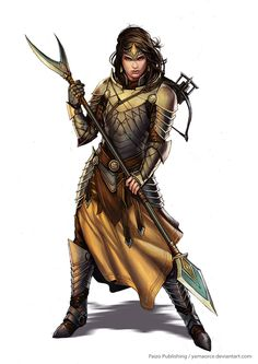 Pathfinder-Palace Guard by YamaOrce female fighter knight paladin spear halberd polearm platemail armor clothes clothing fashion player character npc | Create your own roleplaying game material w/ RPG Bard: www.rpgbard.com | Writing inspiration for Dungeons and Dragons DND D&D Pathfinder PFRPG Warhammer 40k Star Wars Shadowrun Call of Cthulhu Lord of the Rings LoTR + d20 fantasy science fiction scifi horror design | Not Trusty Sword art: click artwork for source