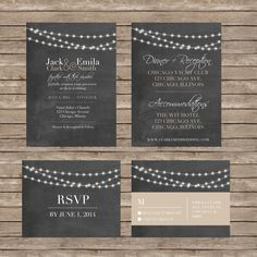 Chalkboard Wedding Invitations AND RSVP Cards by TheAvocadoSeed
