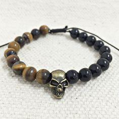 Pulseira Masculina Pedras Onix Olho De Tigre Caveira Skull mens bracelets moda fashion homem