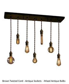 7 en laiton pendentifs récupéré bois Edison industrielle pendentif lumineux urbain lustre rustique éclairage mariage lustre moderne à manger