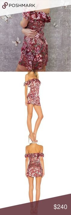 🎀NWT🎀 FL&L OFF SHOULDER MINI DRESS Endlessly enchanting. This gorgeous mini dress keeps you looking effortlessly polished.  Ruffled sleeves  Elasticated Neckline Shirred Front Detailing Invisible Zipper Lined  Available in S and L   Refer to FL&L size guide in last photo.           Free people,  anthropologie, reformation, flora, Madewell, cleobella, August, berry floral, tigerlily, boho, spell, stone cold fox For Love And Lemons Dresses Mini