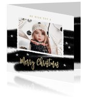 Luxe kerstkaart zwart wit foto Merry, Polaroid Film, Lush