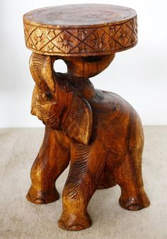 "#ElephantArt Hand carved wood Stool or End Table 11"" x 20"" Thai furniture"