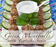 Greek Meatballs with Tzatziki Sauce- super simple & delicious kid approved recipe Healthy Chicken Recipes, Real Food Recipes, Cooking Recipes, Paleo Recipes, Freezer Recipes, Bariatric Recipes, Fun Recipes, Freezer Cooking, Amazing Recipes