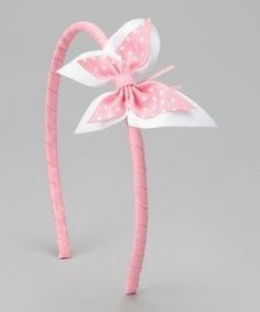 Take a look at this Picture Perfect Hair Bows Pink White Butterfly Headband by Picture Perfect Hair Bows on today! Tresses are sure to stay pretty in pink thanks to this embellished headband. The striking butterfly bow and no-pinch construction make this Diy Hair Bows, Ribbon Hair, Ribbon Bows, Diy Headband, Baby Headbands, Flower Headbands, Headband Hairstyles, Diy Hairstyles, Barrettes