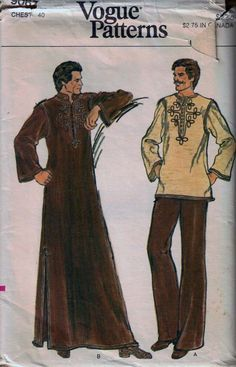 Picture Sundays: A Men's Caftan Pattern From the 80s Fashion, Fashion History, Vintage Fashion, Muslim Fashion, Kaftan Men, Kaftan Pattern, Fashion Hashtags, Diy For Men, Vogue Patterns