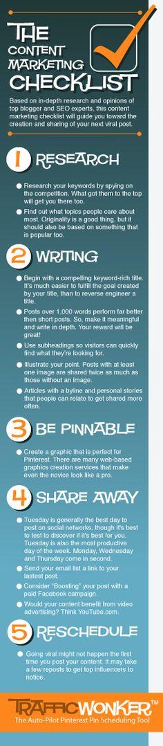The Content Marketing Checklist :: 5 Steps :: TrafficWonker.com :: The Auto-Pilot Pinterest Pin Scheduler #contentmarketing #infographic  #socialmediaautomation CLICK HERE - http://trafficwonker.com/tipsforsuccess/the-content-marketing-checklist.php