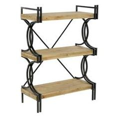 WOODEN/METAL SHELF HUGO IN NATURAL COLOR