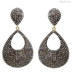 Vintage Style Diamond Pave 925 Sterling Silver Dangle Earrings 14K Gold Jewelry #Handmade #DropDangle