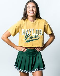 Baylor University Bears Retro Comfort Colors Short Sleeve Cropped T-Shirt - Yellow Baylor University, Bear T Shirt, Color Shorts, Comfort Colors, Cheer Skirts, School Spirit, Retro, Sleeves, How To Wear