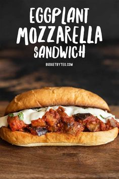These Eggplant Mozzarella Sandwiches are an easy vegetarian dish with plenty of options for customizing to fit your tastes and budget. BudgetBytes.com Egg Free Recipes, Lunch Recipes, Vegetable Recipes, Cooking Recipes, Vegetarian Dish, Vegetarian Recipes, Vegan Meals, Vegan Dishes, Healthy Meals