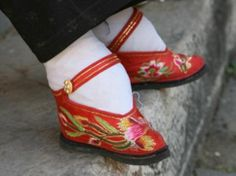 Shoes worn by a Chinese woman with bound feet