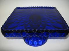 Square Cobalt blue Glass cake serving stand / plate platter pedestal raised tray | eBay