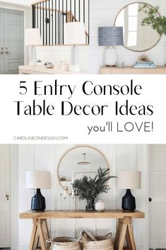 Entryway console table decorating ideas for your foyer. White trim work with a light wood table, round mirror, and lamps to decorate entryway. Foyer Table Decor, Entryway Console Table, Entry Tables, Table Decorations, Entryway Decor, Entryway Ideas, Decorate Console Tables, White Console Table, Entrance Decor