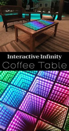 Beyond Infinity Table – the Interactive Coffee Table for the Modern Age Beyond Infinity Table is a beautiful, interactive coffee table that will leave you amazed, bewildered, and maybe just a little dizzy! Woodworking Outdoor Furniture, Woodworking Plans, Woodworking Projects, Led Projects, Diy Wood Projects, Infinity Mirror Table, Mirror Illusion, Hippy Room, Led Diy