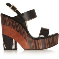 Jimmy Choo Notion leather and wood wedge sandals (€255) ❤ liked on Polyvore featuring shoes, sandals, wedges, black, slingback wedge sandals, wedge sandals, platform wedge sandals, black platform shoes and wooden platform sandals