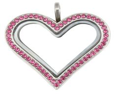 Big Peach Silver Heart Pink CZ Stones Floating Locket