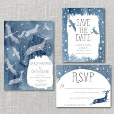 Constellations Printable Wedding Invitation Suite with custom hand lettered names