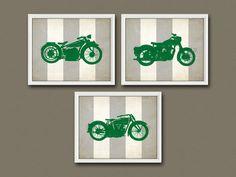 8x10 3 VINTAGE MOTORCYCLE PRINTS Nursery Art by CrabbyNicks, $38.00