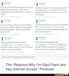 Why don't we talk about Frank's tweets?