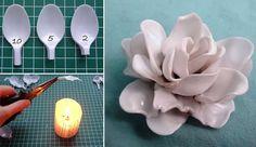 Idee per riciclare le posate di plastica - Fiore con le posate