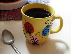 Ladybug Coffee Mug - Hand-paint a thrift store mug with ladybugs — Crafts by . - Ladybug Coffee Mug – Hand-paint a thrift store mug with ladybugs — Crafts by Amanda shows you - Coffee Mug Crafts, Coffee Mugs, Preschool Crafts, Crafts For Kids, Diy Crafts, Coffee Presentation, Color Me Mine, Pottery Painting Designs, Ladybug Crafts