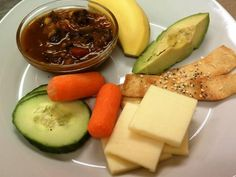 Debra - This lunch is: Black Bean Chili (Vegetarian) Homemade Seeded Crackers Sliced Cheese Asparagus Avocado Salad