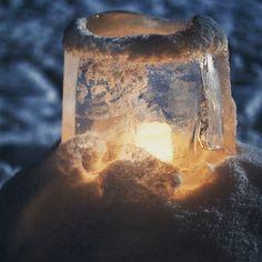Ice lantern in winter - Beautiful ice lantern in peaceful winter scene. Warm candlelight in cold night. #teemutretjakov #fineart #wintertime #icelantern