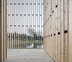 Completed in 2014 in Nanjing, China. Images by Yao Li. The project - a 200 square meter small chapel, is located in Wanjing Garden along Nanjing's Riverfront. Hosted by priests from Nanjing Union. Detail Architecture, Timber Architecture, Religious Architecture, Church Architecture, Contemporary Architecture, Architecture Interiors, Nanjing, Wood Facade, Wood Cladding