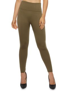 Solid Leggings with Popcorn Knit Waistband,OLIVE S
