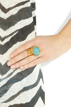 YSL Arty gold-plated glass ring.