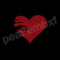 Red Heart Rhinestone Transfers New Design Wholesale 30pcs/lot