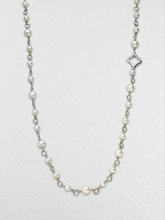 David Yurman Sterling Silver & Pearl Cable Link Necklace