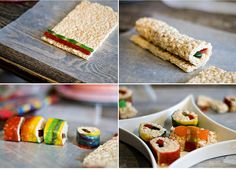 candy sushi- put a small scoop of rice crispie treats in the middle of a fruit roll up. Smoosh 3 Swedish fish into the 'rice'. Roll up the fruit roll up and cut!