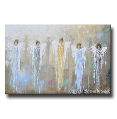 """Angels Whispering Among Us"" 24x36"" ORIGINAL art abstract angel painting 5 guardian angels spiritual art blue brown gold home decor wall art Christine Krainock"