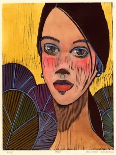 Lily 8.25x6.25 Woodcut with watercolor  http://www.belindadelpesco.com