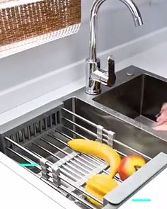 This high quality plastic & stainless steel rack helps you drain fruit vegetables and other food right in your sink. Fits all sinks and for a limited time it is OFF! Get it now! The post Retractable Sink Rack appeared first on badezimmer. Cool Kitchen Gadgets, Home Gadgets, Cooking Gadgets, Kitchen Items, Home Decor Kitchen, Diy Kitchen, Kitchen Tools, Cool Kitchens, Kitchen Cabinets