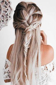 Half-Up Fishbone Hairstyle