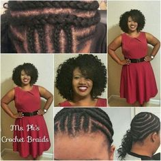 American and African Hair Braiding : Easy cornrow style by Ms. Pks Crochet Braids located in Ga American and African Hair Braiding : Easy cornrow style by Ms. Pks Crochet Braids located in Ga Crochet Braids Hairstyles, African Braids Hairstyles, Braided Hairstyles, Curly Crotchet Braids, Prom Hairstyles, Crochet Braid Pattern, Braid Patterns, Crochet Patterns, Curly Hair Styles