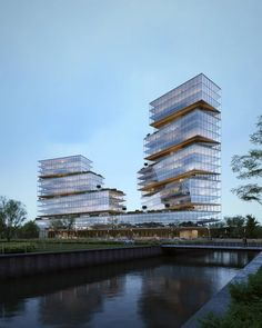 New Media Headquarters | Architectural Visualization for WOMO [Building] : architecture Masterplan Architecture, Office Building Architecture, Architecture Design, Urban Village, High Building, New Media, Beautiful Places, Exterior, Instagram