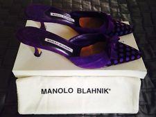 Women's manolo blahnik purple suede kitten heel mules, size 9