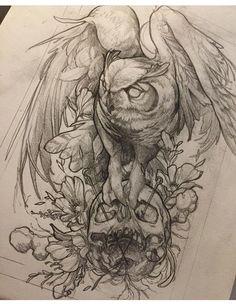 Owl skull tattoo
