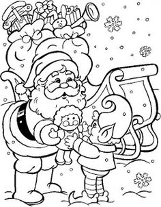 Here is another coloring sheet for you that shows Santa giving a dolly to a little elf for delivery. If you like this coloring sheet, click ...